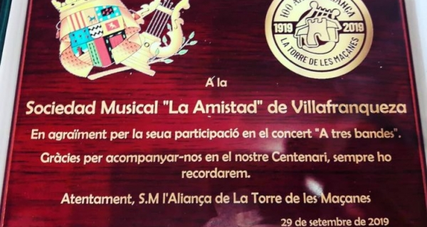 La Amistad & SM  LaTorre De Les Maçanes en el seu 100 Aniversari